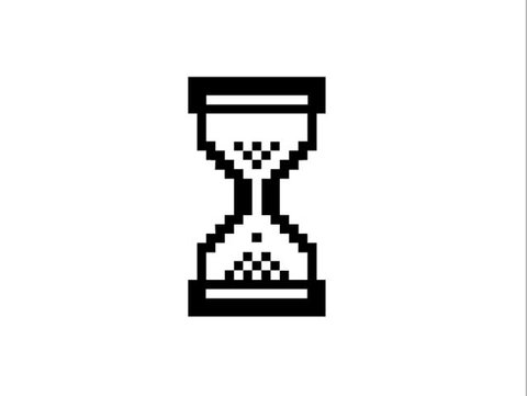 Hourglass black and white pixel icon