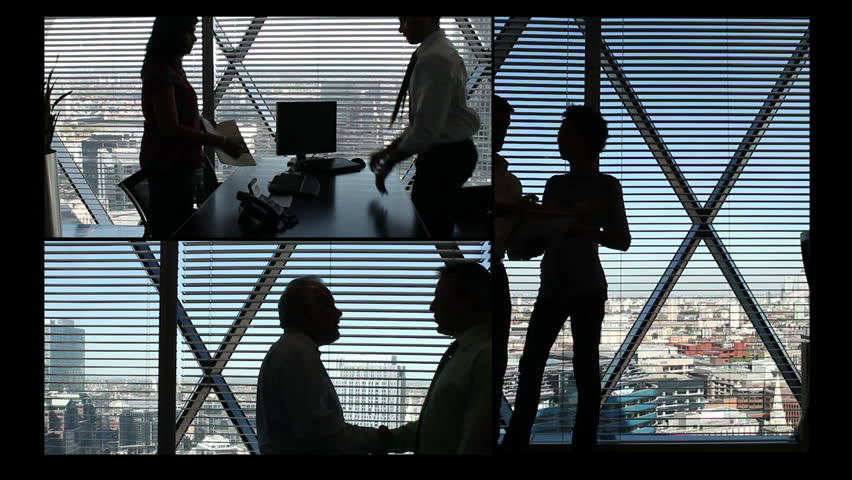 Montage of confident and successful young business team working in a modern high rise office