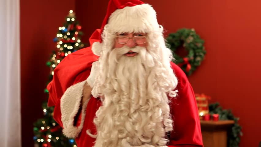 santa claus with bag of gifts hd stock video clip - Santa Hohoho 2