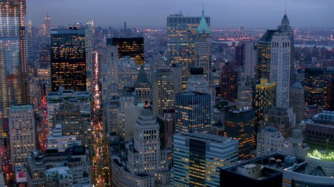 Manhattan financial district at dusk, aerial shot