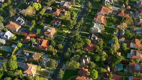 Aerial shot of Hollywood California neighborhood