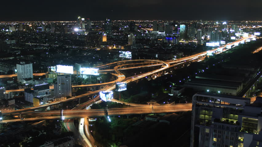 night traffic, time lapse of skyline of bangkok,