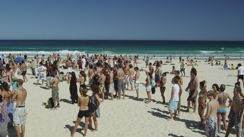 Sydney Circa October  Sun Seekers At Bondi Beach Hd Stock Footage Clip