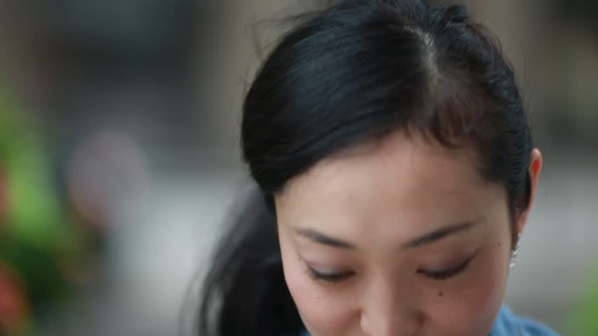 Asian woman smiling happy face