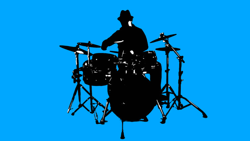 A really cool guy with a really cool hat plays a really cool drum solo, silhouetted on blue.