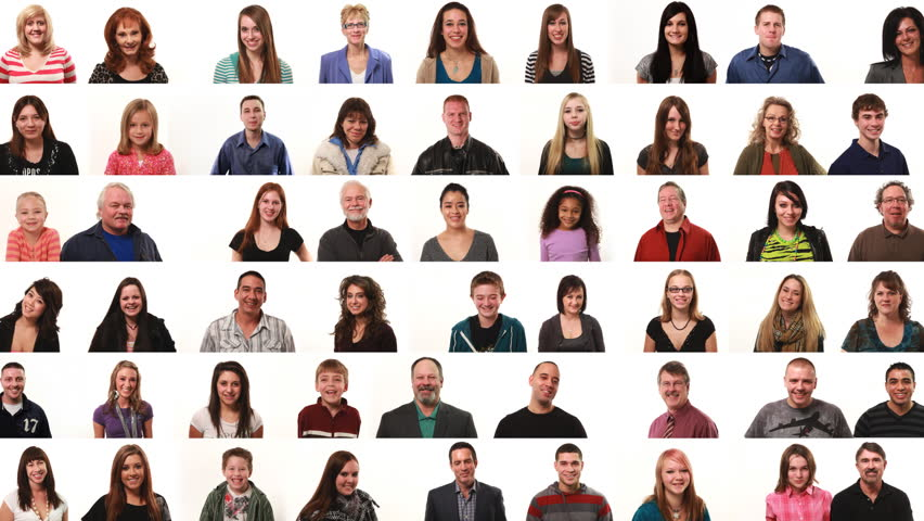 Large montage of people on white background | Shutterstock HD Video #4653833