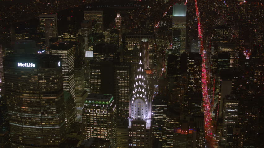 Aerial shot of New York and Chrysler Building at night  #4657529
