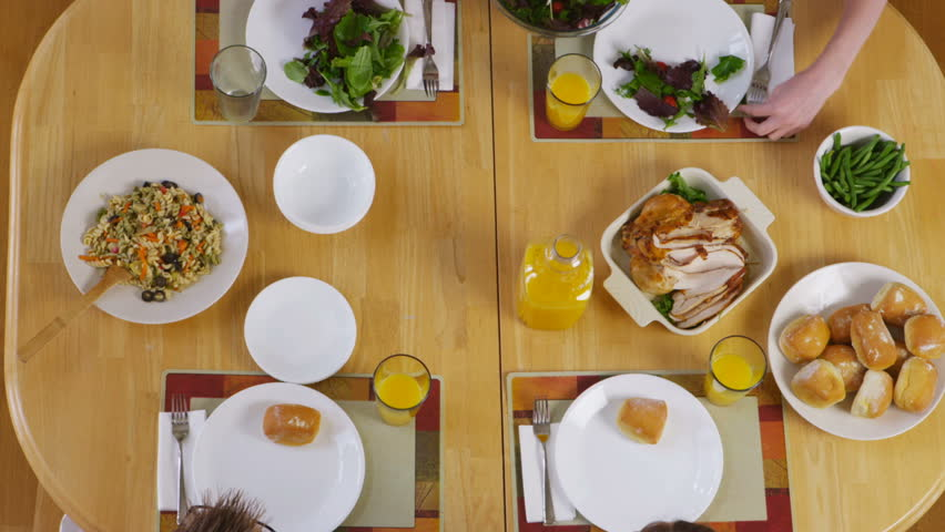 Overhead shot of food at the dinner table