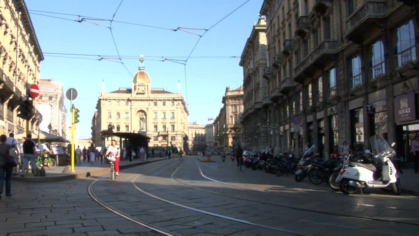 Typical yellow trams in Milan (Italy)