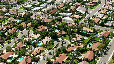 Aerial shot of Palm Springs, California neighborhood