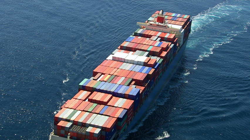 Aerial shot of container ship in ocean | Shutterstock HD Video #4664129