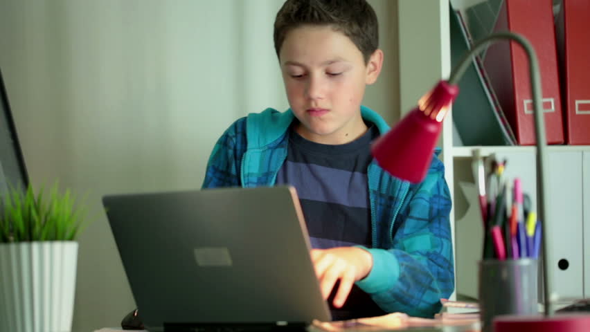 Young boy with modern laptop computer in home