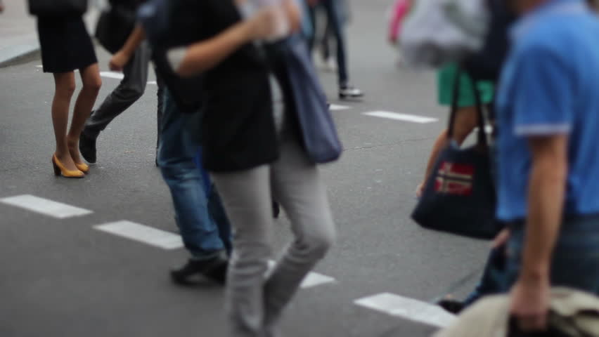 Mini city timelapse of people crowd walk on crossroad pedestrian