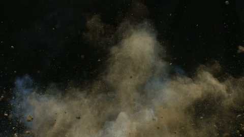 Slow motion explosion sends dirt and rocks flying