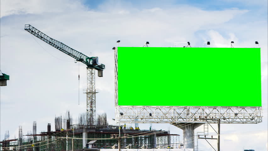 time lapse construction site and big billboard three colors shot
