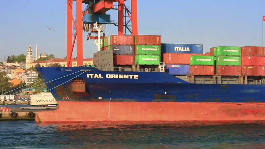 ISTANBUL - APR 29: Cargo container ship ITAL ORIENTE (IMO: 9338058, Flag: