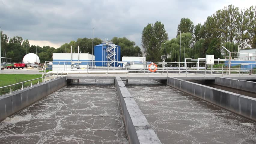 Sewage treatment plant. Waste water treatment plant. Aeration tanks. Water recycling.