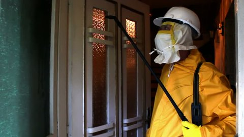Pest Control and fumigation ; specially equipped worker done pest and deratisation in the house,video clip