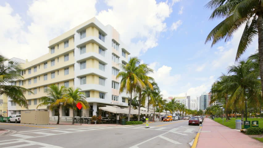 MIAMI BEACH JANUARY Stock Video Of Townhomes At Sunset - First shopping center in usa