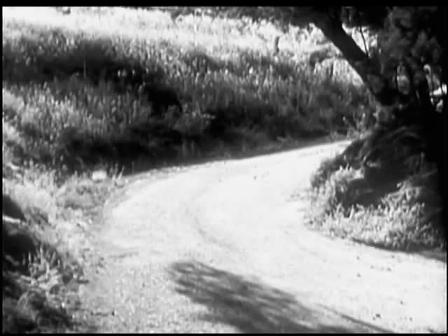 1940s car stopping on side of country road