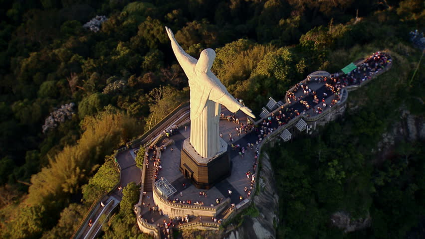 High angle aerial view of Christ the Redemeer Statue, Rio de Janeiro, Brazil