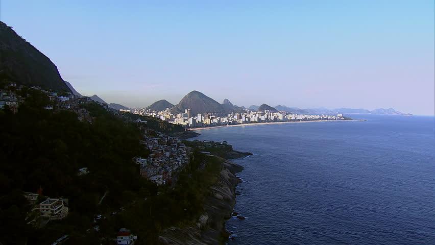 Flying around southern Rio de Janeiro, Brazil towards Ipanema Beach
