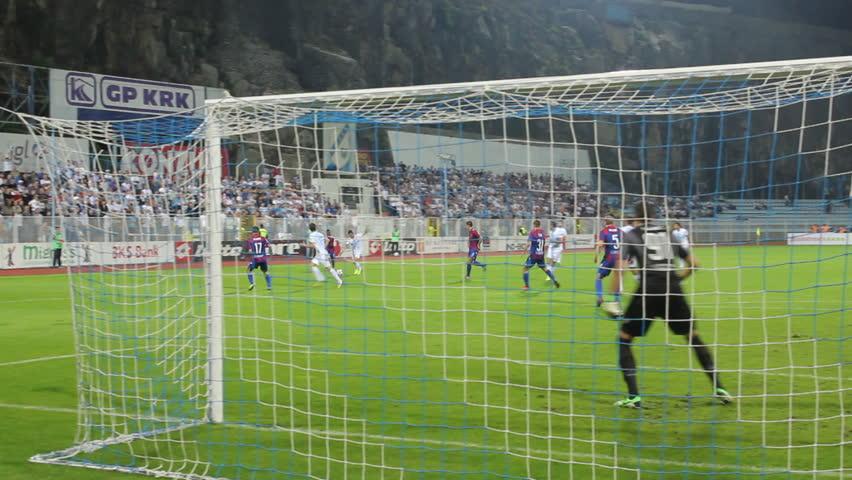 RIJEKA, CROATIA - SEPTEMBER 28: soccer match between HNK Rijeka and HNK Hajduk (1. Croatian Football league) 2013 in Rijeka, Croatia. Leon Benko (Rijeka) scores the goal.