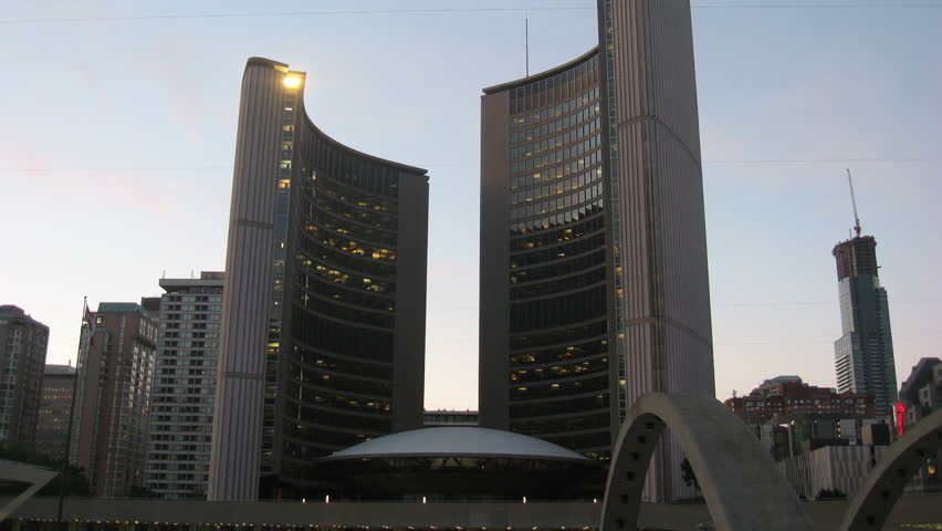 Toronto City Hall Sunset Timelapse 2. Toronto's city hall during sunset tilting