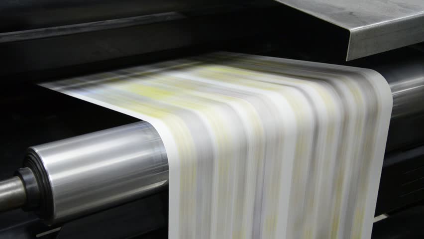 Web set Offset Press Printing Today Newspaper, Close up - Stock Video. Large web