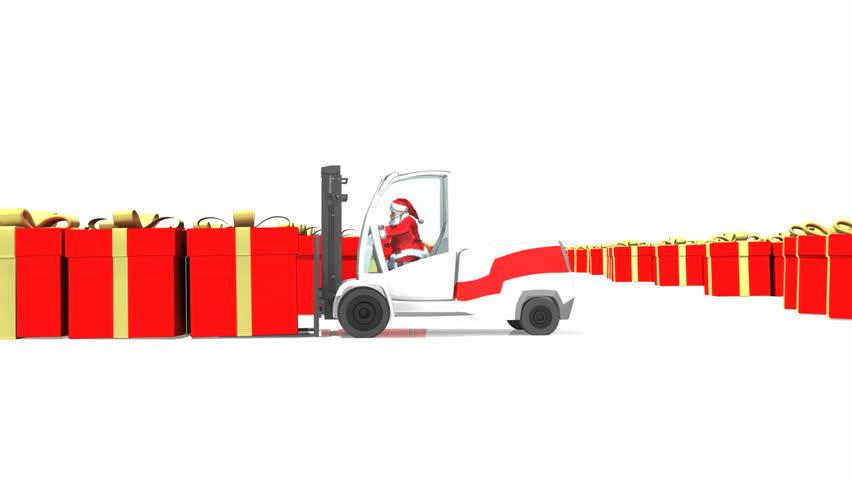 Santa driving loader creating Merry Christmas text