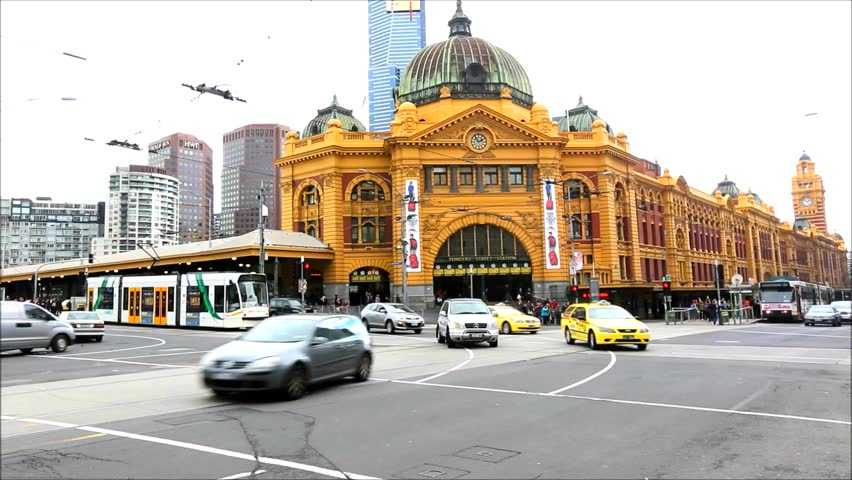 MELBOURNE, AUSTRALIA - AUG 17: Iconic Flinders Street Station was completed in 1910 and is used by over 100,000 people each day - 17 August 2013, Melbourne Australia