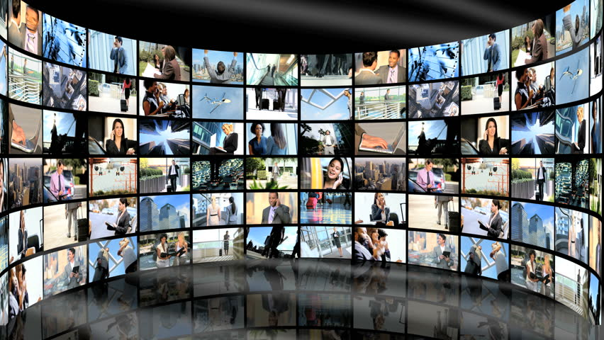3D video wall image montage of multi-ethnic male and female business people and world travel | Shutterstock HD Video #4805633