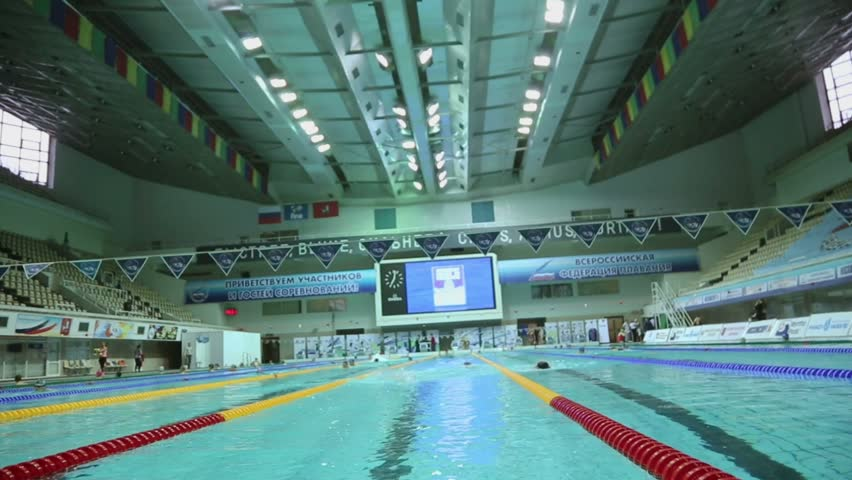 moscow apr 20 several people swim by tracks in pool at olympic sports complex