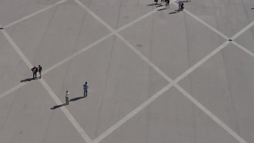 Aerial view of people walking in a square, part 1