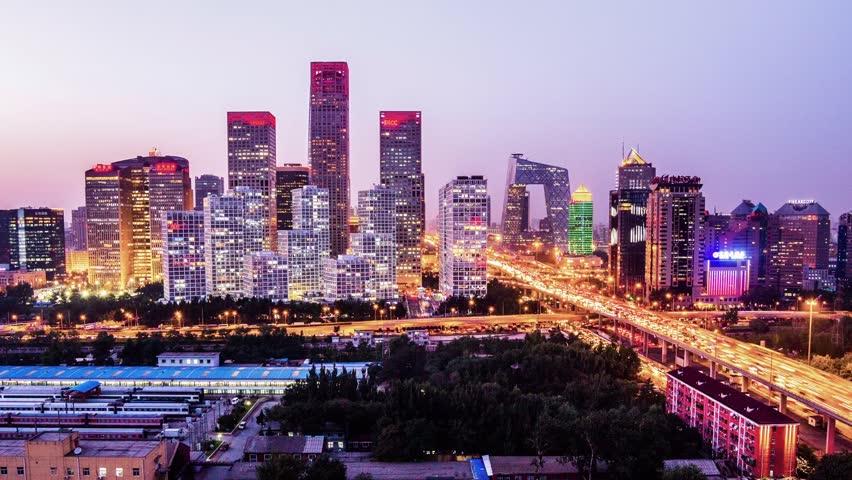Jianwai SOHO,the CBD skyline sunset in Beijing,China   Shutterstock HD Video #4849919
