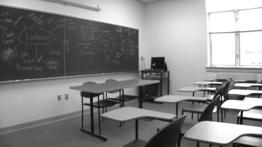 Grainy video of classroom (B&W)