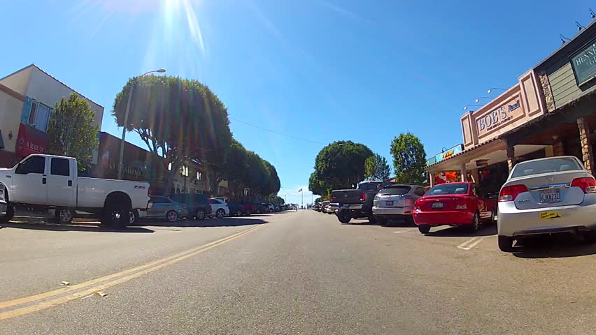 SEAL BEACH, CA: October 12, 2013- The camera is on a bicycle on Main Street