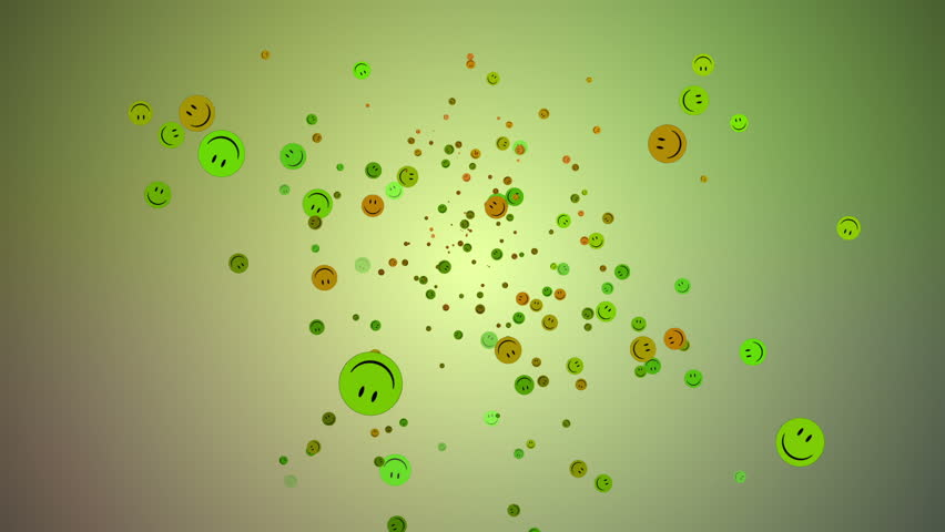Smiley face explosion background - 1080p Multicolor smiley faces particles in a flashing exploding background - Loop - Full HD