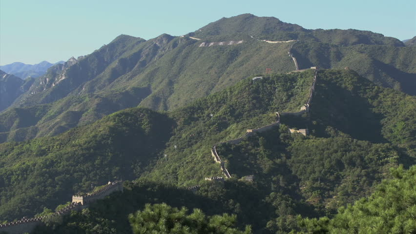 Wide angle landscape view from the Great Wall of China #4869467