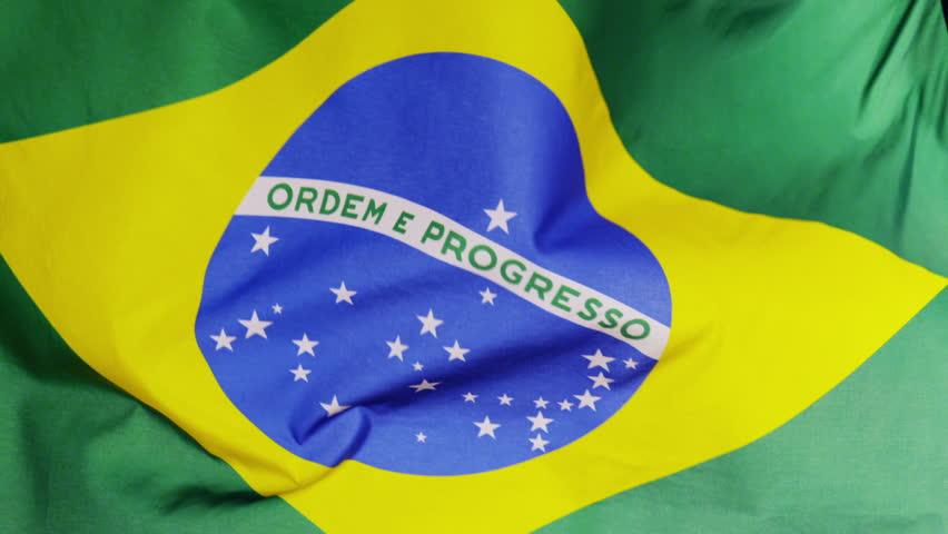 Flag of Brazil, waving in slow motion