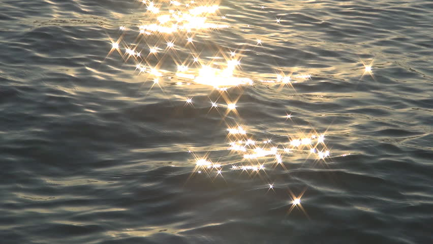 Sea Waves, Sunlight Reflection in Water, Star Reflections on Sea, Sunset Beach
