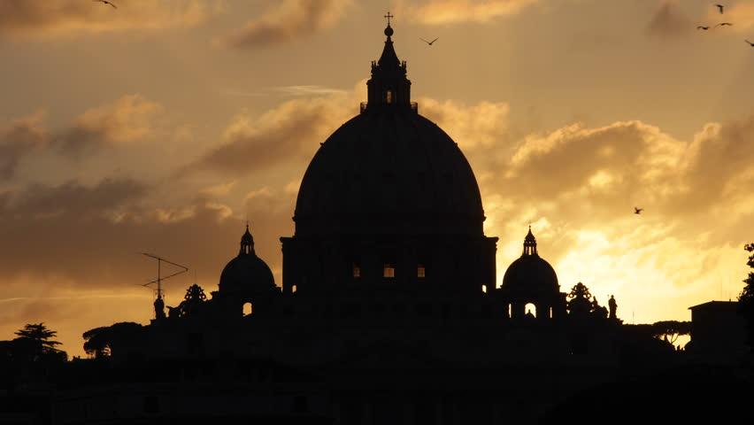 Golden Sunset St. Peter's Basilica Vatican City Rome Italy, San Pietro Vaticano