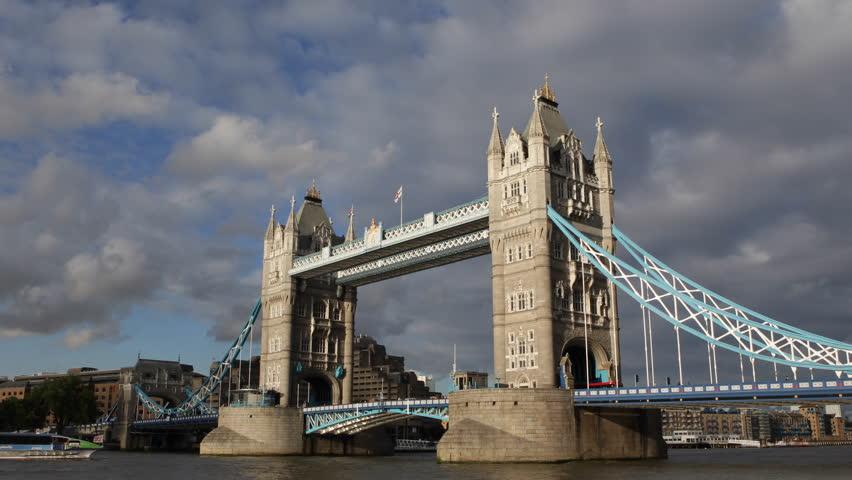 Famous Tower Bridge London England UK United Kingdom Thames River Ship Passing