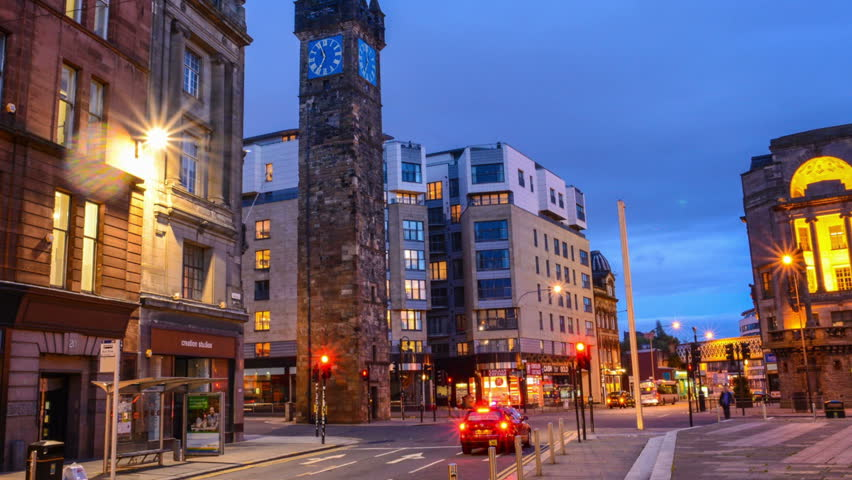 City at night time lapse Glasgow