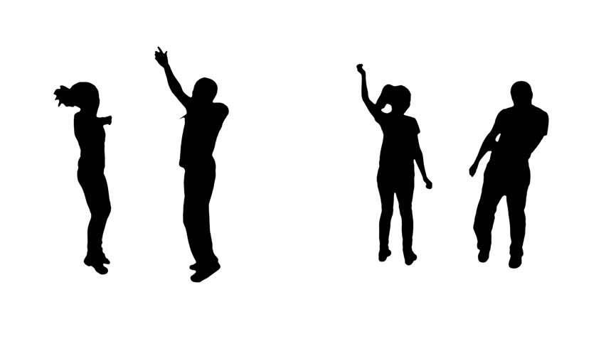 Multiple dancing couples silhouettes. Alpha matte.  More options in my portfolio.