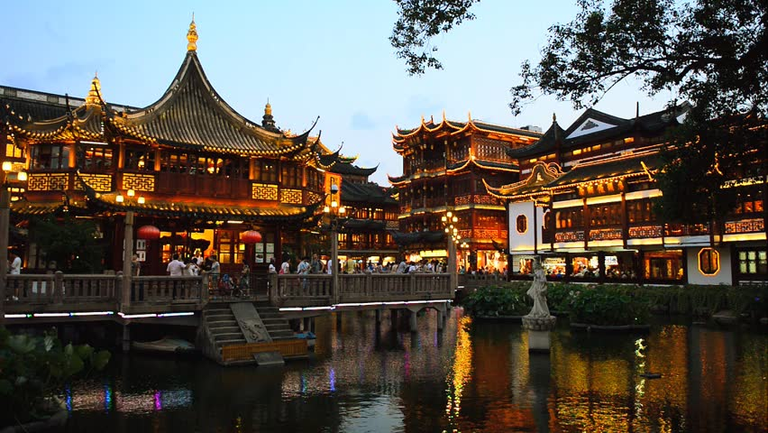 Shanghai YuYuan Gardens In China Time Lapse. One Of Top 10 Shanghai Famous Tourist Attractions ...