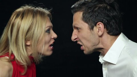 Man and woman yelling at each other. Close up. High definition video.