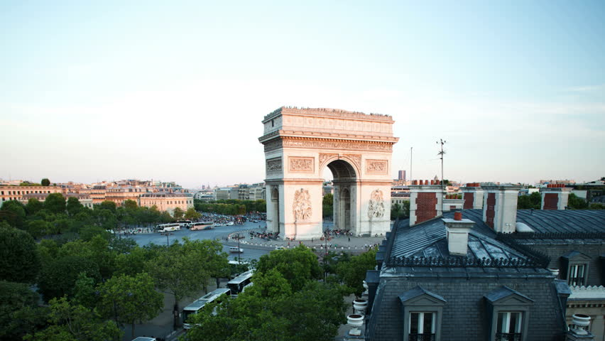 Timelapse of the arc de triomphe, paris at sunset ( day to no night) shot from a unique vantage point