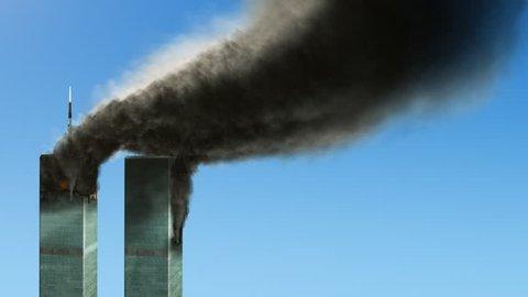 Burning World Trade Center buildings - loop