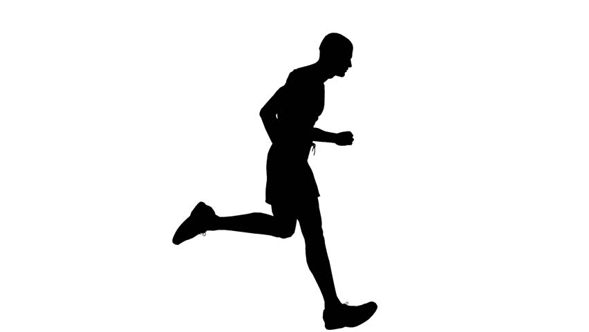 Animated silhouette loop of a man running on a white background